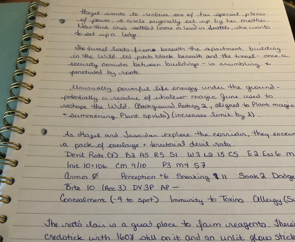 A handwritten page of Shadowrun adventure notes in a coil-ringed scribbler.